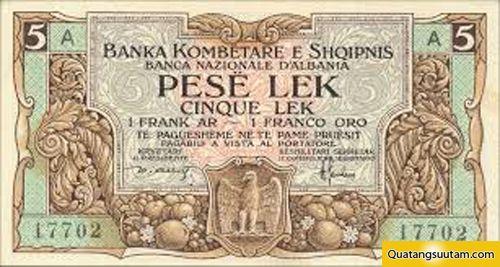 5 Lek là tiền tệ chính thức của Albania