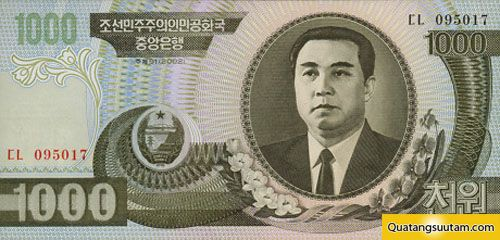 tien cac nuoc chau a 1000 North Korean Won