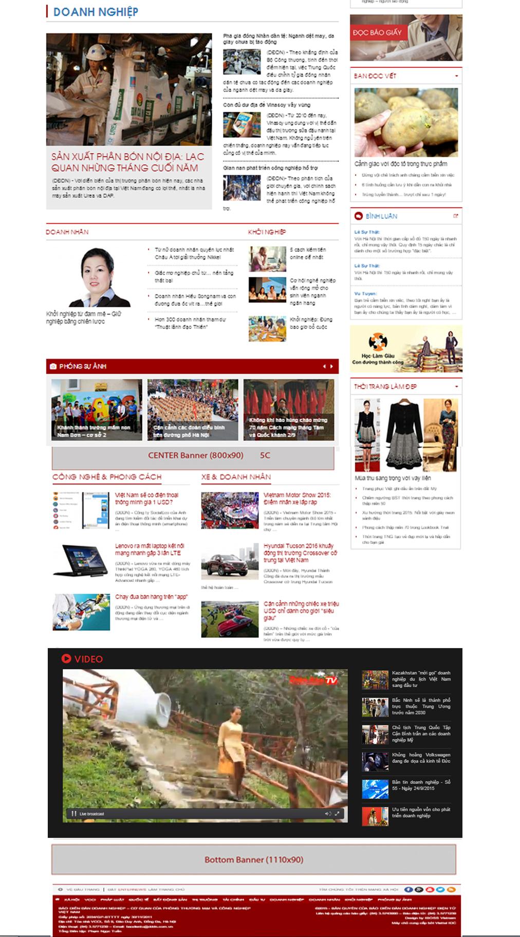 Vị trí quảng cáo trên báo Enternews.vn chuyên mục doanh nghiệp