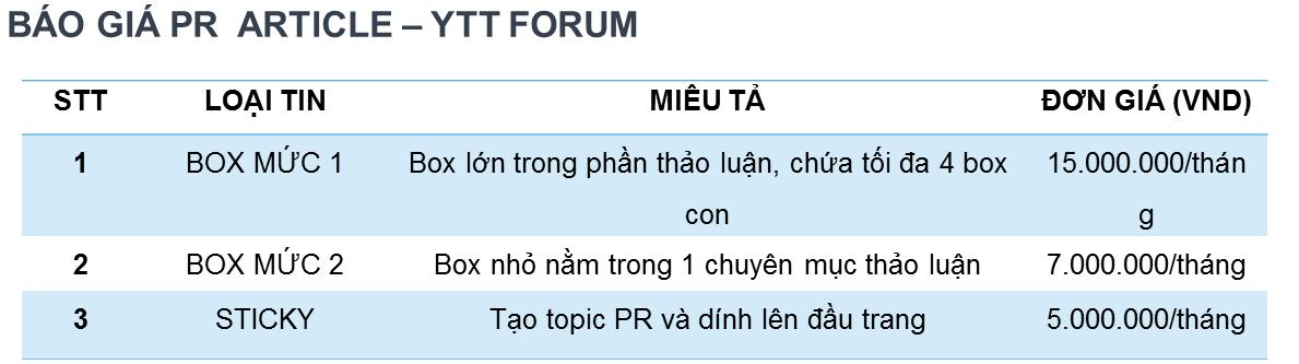 báo giá quảng cáo PR trên Yeutretho.vn