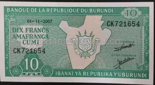 BURUNDI 10 FRANCS 2007 UNC _ 20K